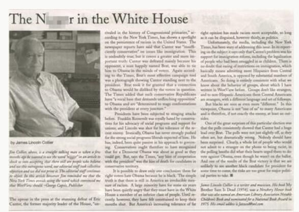 NY Newspaper Calls Obama The 'N****r in the White House'