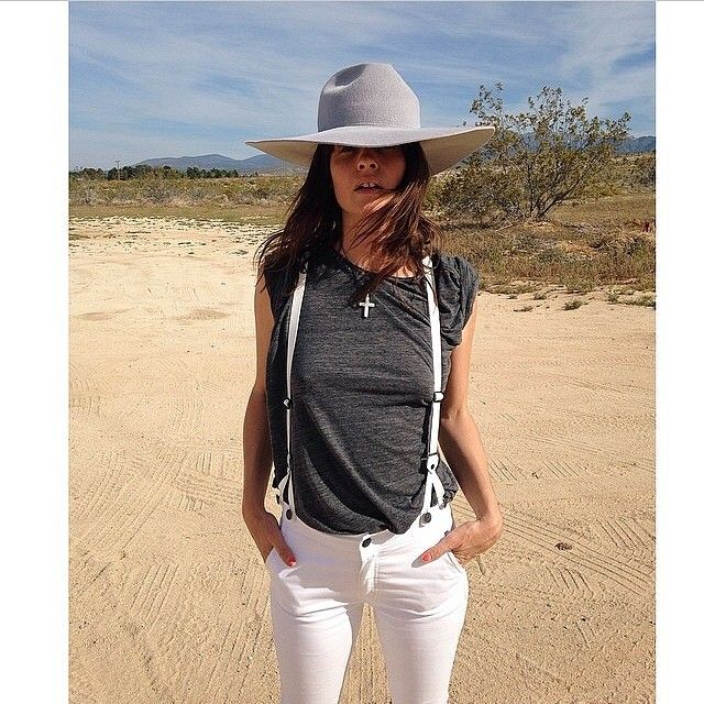Kelley Ash in our exclusive Courtshop James suspender jeans in white