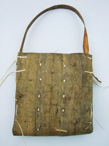 Mary Butcher, Bark Bag Willow bark, willow skein Stitching