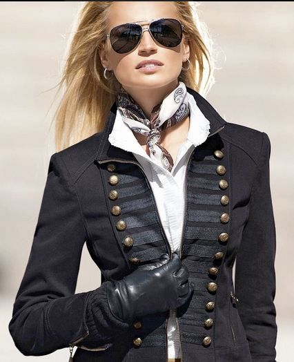 Ralph Lauren MILITARY STYLE JACKET WITH GOLD RIMMED AVIATORS...RALPH AND ARMANI STILL DO IT THE BEST XOXO