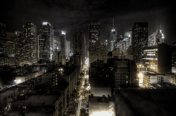 Shining Manhattan with the Empire State BUilding on the right, NYC, New York