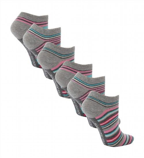 7.37$  Buy now - http://vifiy.justgood.pw/vig/item.php?t=7phhz1429257 - 6 Pairs Ladies Soft Cotton Pink/Aqua Stripe Trainer Socks Size 4-8 Uk (AT24)