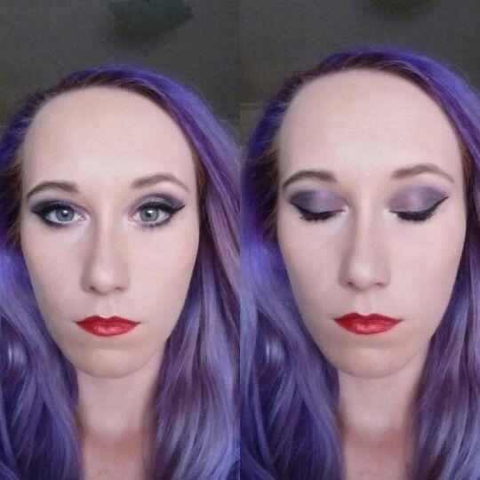 Purple shade, red lips