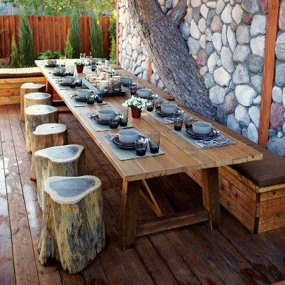 Designer Jamie Durie framed this outdoor dining room by incorporating a  large backyard pine tree into a stone wall  The benches are made of simple  fallen. 14 best Ideas for my fallen pine tree images on Pinterest   Pine