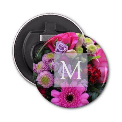Pink and Violet Flowers Personalised Bottle Opener - rose style gifts diy customize special roses flowers