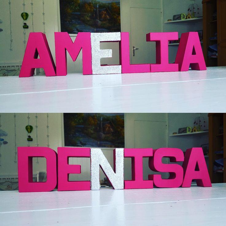 Nursery room letters name decoration girl  glitter