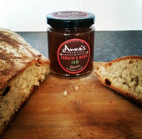 Made some homemade yeast-less bread, combined it with Tomato & Basil jam...result was WOW! :)