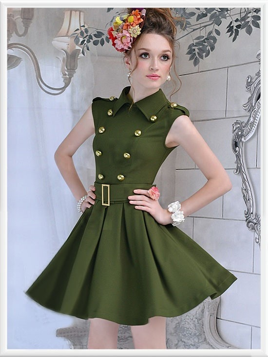 Morpheus Boutique  - Green Double Breasted Pleated Belted Sleeveless Dress