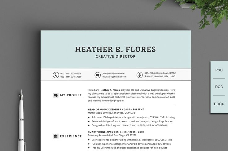 Clean Style Resume by Design by Mike Kondrat on @creativemarket - user experience designer resume