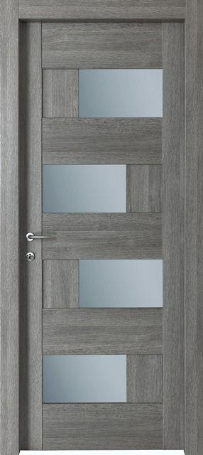 #Porte interne modello Dahlia 4V.Codice : 4Tp.5T.4V in legno listellare. Rivestimento esterno in Laminato. Colore: #Grigio Poro. #Catalogo Ensemble. #home #doors #legno #vetro
