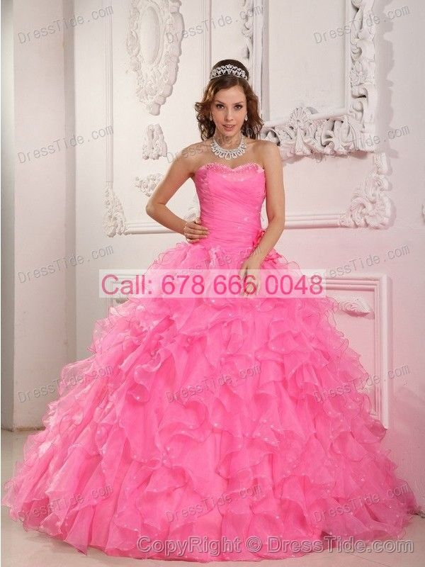 Pink Sweetheart Quinces Dresses with Beaded Hand-made Roses and Ruffles - Quinceanera Dresses 2015 - Quinceanera Dresses