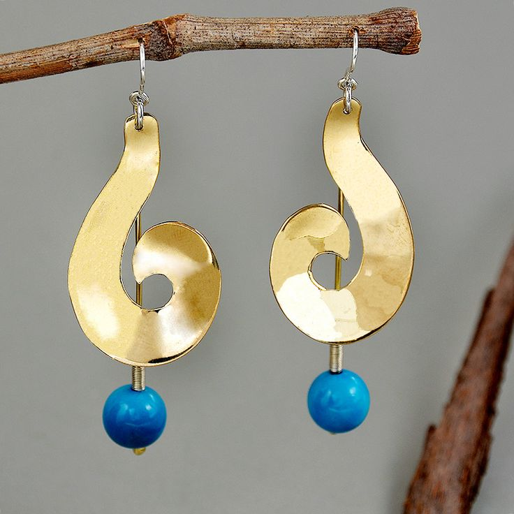 Turquoise large earrings, beaded spiral earrings, chunky gold earrings, tribal jewelry, bulky drops,tagua jewelry,vegetable ivory, gift idea by ColorLatinoJewelry on Etsy
