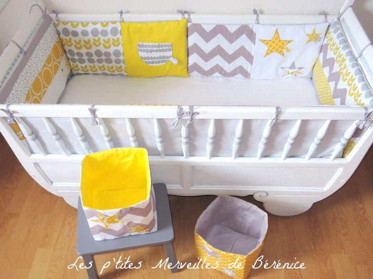 SUR COMMANDE Tour de lit complet + corbeilles de rangement tons jaune/gris/blanc