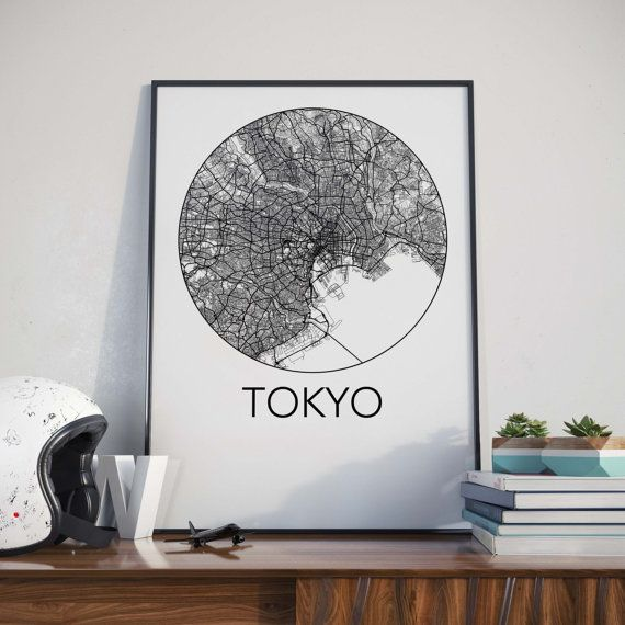 Tokyo Japan Minimalist City Map Print by TheNeighbourhoodUnit