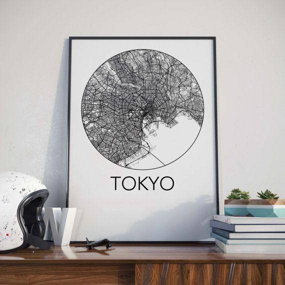 Tokyo Japan Minimalist City Map Print by TheNeighbourhoodUnit