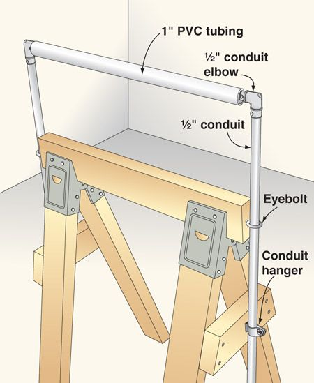 Sawhorse with an adjustable outfeed roller.