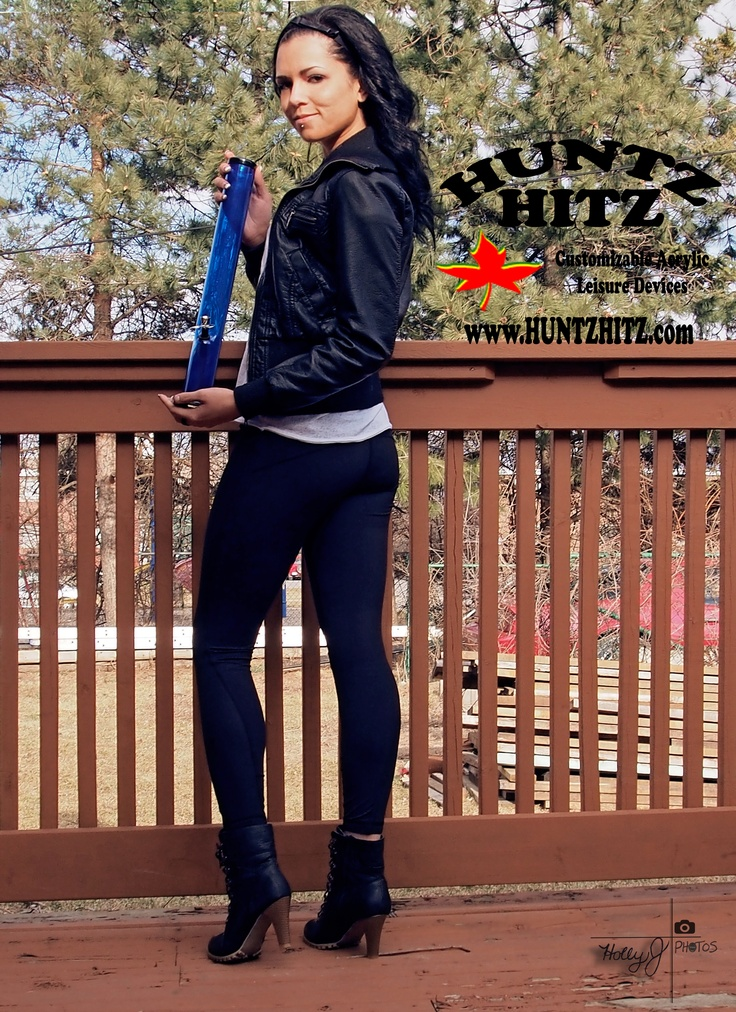 Gorgeous model Nicole Whitney for www.huntzhitz.com - customizable acrylic bongs - order online!