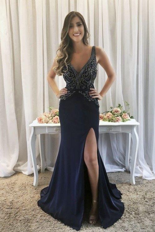 Luxury Rhinestone Beading Plunging Neck Sleeveless Zipper-Up Long Slit Mermaid Evening Dress