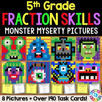This 5th Grade Fractions Color-by-Number Activities Pack comes with 8 mystery picture activities and over 190 task cards for reviewing key 5th grade Common Core fractions standards in a fun and exciting way!Each included activity supports one of the following 5th grade Common Core fractions skills:    Simplifying proper fractions and mixed numbers    Adding and subtracting proper fractions with unlike denominators    Adding mixed numbers with unlike denominators    Subtracting mixed numbers…