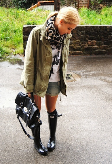 Outfit Idea #5. Weather report calling for scattered thunderstorms? Stay dry and avoid overheating by wearing an anorak and wellies with shorts and a T-shirt.
