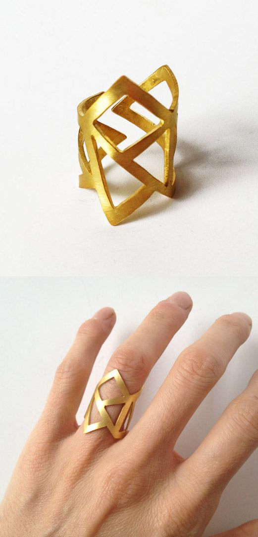 Gift for her handmade gold statement geometry ring - 24K gold plated bronze ring -  statement ring - adjustable minimalist ring