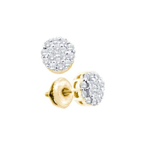 eb98fea228 Diamond Earrings Design | 14K Yellow Gold Channel Invisible Set Round  Diamond Flower Stud Earrings with Screw Back Closure 12 cttw ** Check out  this great ...