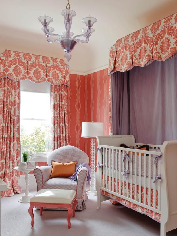 Whimsical Burnt Coral Nursery & Purple Canopy (http://www.hgtv.com/designers-portfolio/room/contemporary/kids-rooms/12405/index.html?soc=Pinterest): Colors Combos, Colors Schemes, Window Treatments, Baby Girls, Baby Rooms, Cribs, Nurseries Design, Girls Nurseries, Girls Rooms