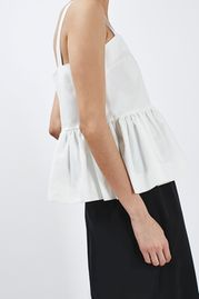 Ruffled Peplum Cami Top By Boutique