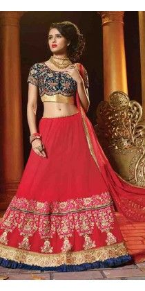 Elegance Red Embroidered Georgette Lehenga Choli
