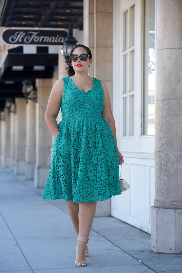 Tanesha Awasthi (formerly known as Girl with Curves) wearing a lace midi dress