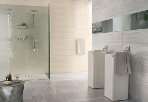 Piastrelle effetto marmo per il rivestimento del bagno. Linea RE.SI.DE. by Ceramiche Supergres, colori Brera e Bardiglio, formati 40x80 e 20x80.    #piastrellebagni #rivestimentibagno #grescollection
