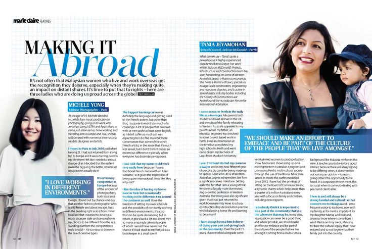 Meet Murdoch Alumnus Tania Jeyamohan who featured in Marie Claire as a succesful Malaysian woman 'Making it abroad'