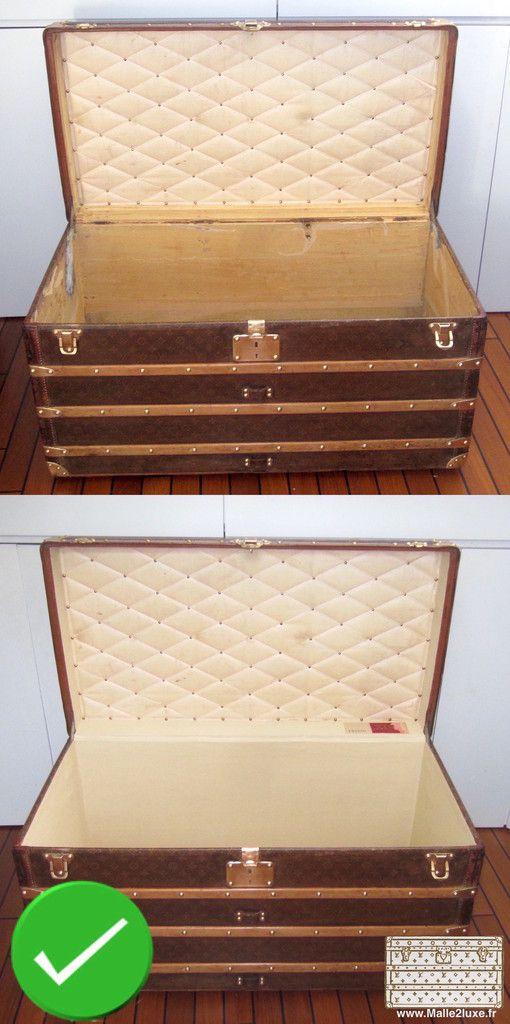 Restauration malle ancienne trunk vuitton louis capiton conservé