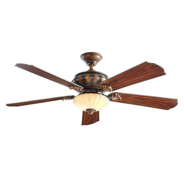 Home Decorators Collection Abigail 52 in. LED Indoor Mediterranean Dark Walnut Ceiling Fan