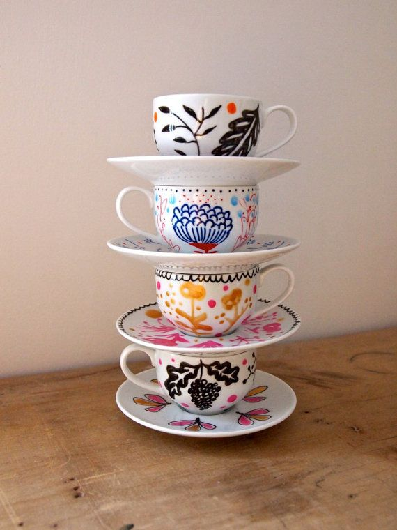 Hand painted mini tea cup and saucer