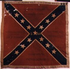Flag of the 5th Alabama Infantry.  This flag is an Army of Northern Virginia, 3rd wool bunting issue. Flags of this pattern were manufactured at the Richmond Depot between July 1862 and May 1864. This flag was issued to the 5th Alabama Infantry in April, 1863. It was captured at the Battle of Chancellorsville, Virginia on May 3, 1863 by the 111th Pennsylvania Volunteers, 2nd Brigade, 2nd Division, 12th Army Corps. The flag was returned to the State of Alabama effective March 25, 1905.