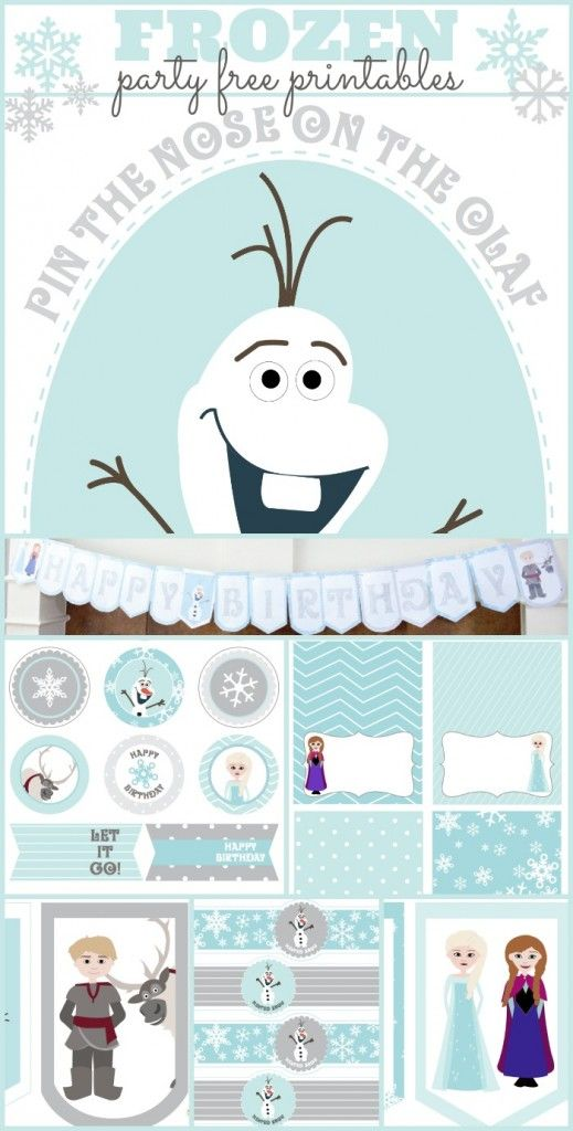 Frozen party free printables with pin the nose on Olaf, water bottle labels, and cupcake toppers