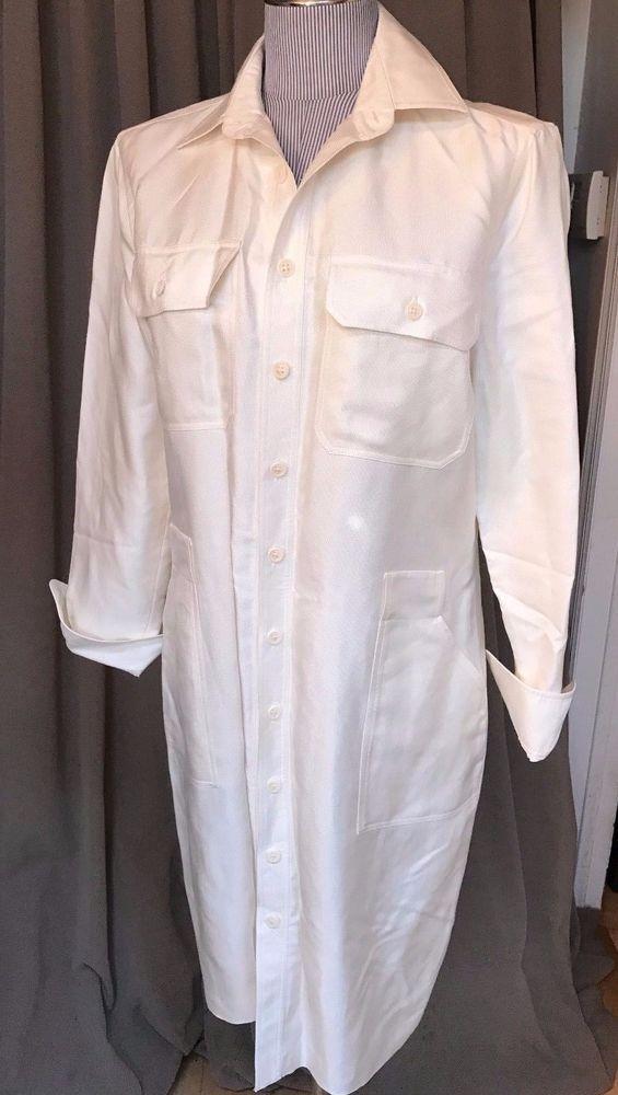 ralph lauren black label collection ASNEW off white linen shirt dress 10 $695 #RalphLaurenBlackLabel #ShirtDress #versatileworktoevening
