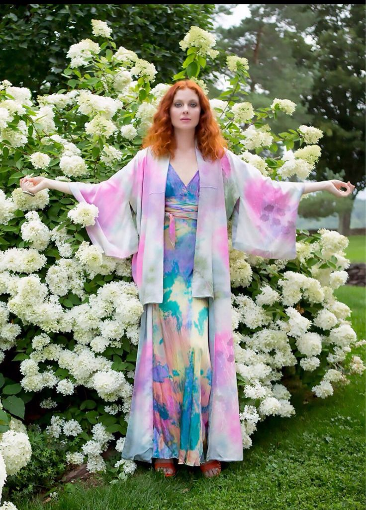 Silk boho chic tie dyed kimono with silk rainbow wedding dress mother of the bride by momosoho on Etsy