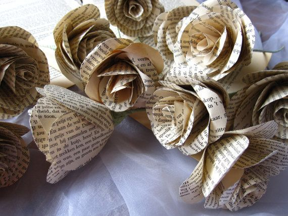 Old Paper Book pages origami flowers vintage style by moniaflowers