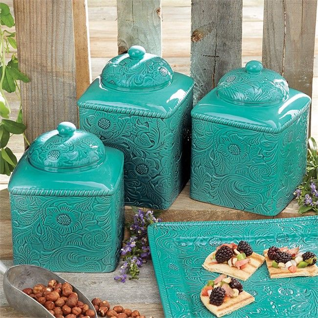 Savannah Turquoise Canister Set · Kitchen Canister SetsTurquoise KitchenTeal  ...
