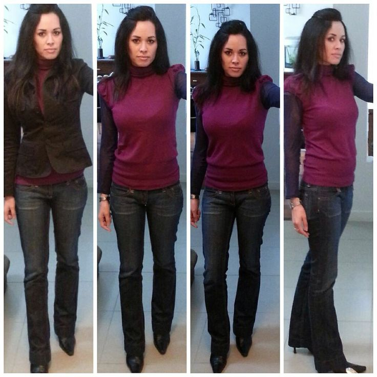 Smart casual bootleg jeans with layered tops!