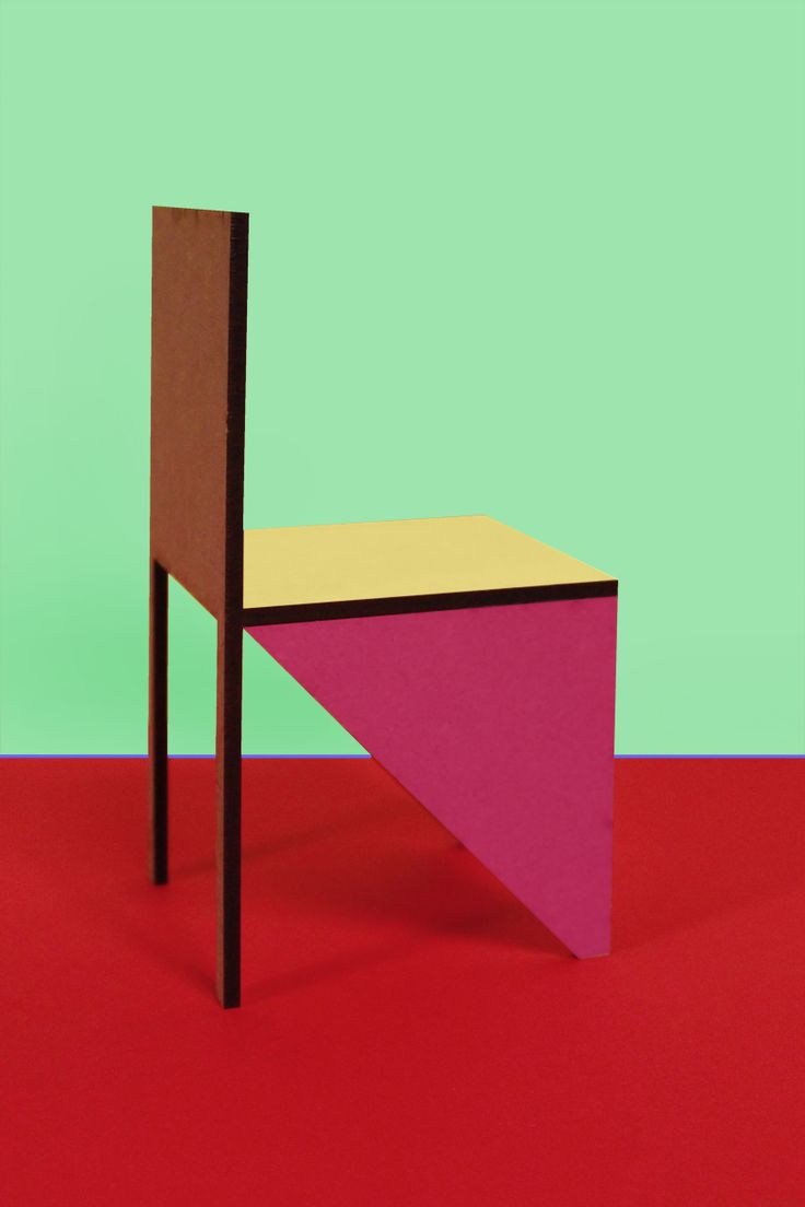 Imspired b y Memphis:  Designer Dennis Maes has integrated signature colors from the postmodern 80s design house in this new chair, which also makes us of the QR code.