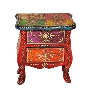 Rajasthani Ethnic Handpainted Decorative Wooden Drawers cum self