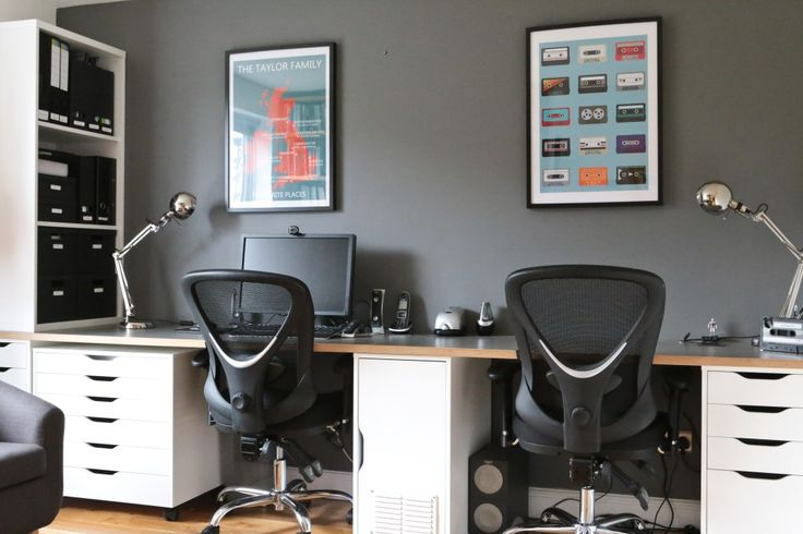 His and hers study desk and chairs