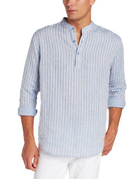 Cubavera Men 39 S Long Sleeve Banded Collar Linen Shirt Blue