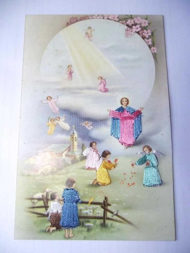 EMBROIDERED SILK POSTCARD SIZE INFANT JESUS AND ANGELS SPANISH LOVELY