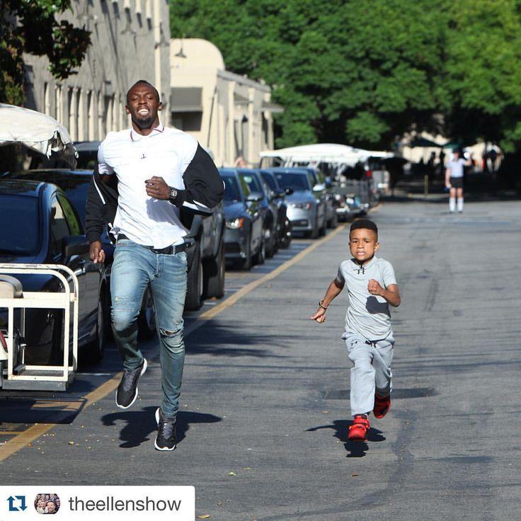 So @usainbolt vs a little kid happened on @theellenshow.  Watch the race on RunnerSpace.com!  #regram #runnerspace #theellenshow #tracknation #usainbolt #instarunners