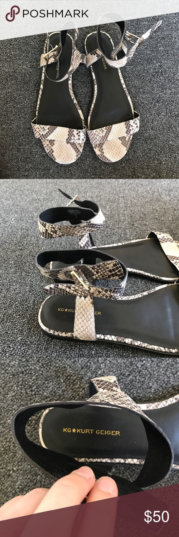 Snake print sandals Ankle straps, side buckle, flat Kurt Geiger Shoes Sandals