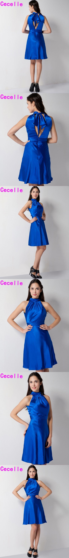 Royal Blue Short Bridesmaid Dresses Sleeveless A-line Mini Stretch Satin Informal Women Party Dress High Quality Custom Made